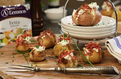 Whipped Fetta Bacon & Sour Cream Chats/Jackets recipe made with Lemnos Smooth Fetta