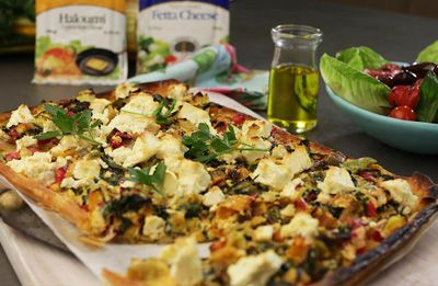 Leek, Feta and Swiss Chard Tart prepared with Lemnos Traditional Fetta & Haloumi