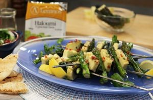 Marinated Haloumi Asparagus & Basil Skewers recipe made with Lemnos Cyprus Style Haloumi Cheese