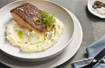 Crisp Skinned Salmon with Potato Mash recipe prepared with Lemnos Smooth Fetta