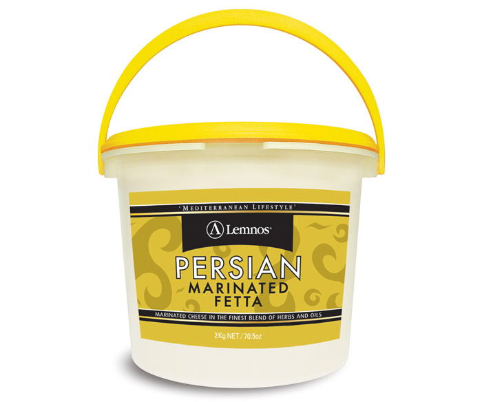 Lemnos Persian Marinated Fetta 2kg. Servings per Pack: 80, Serving Size: 25g