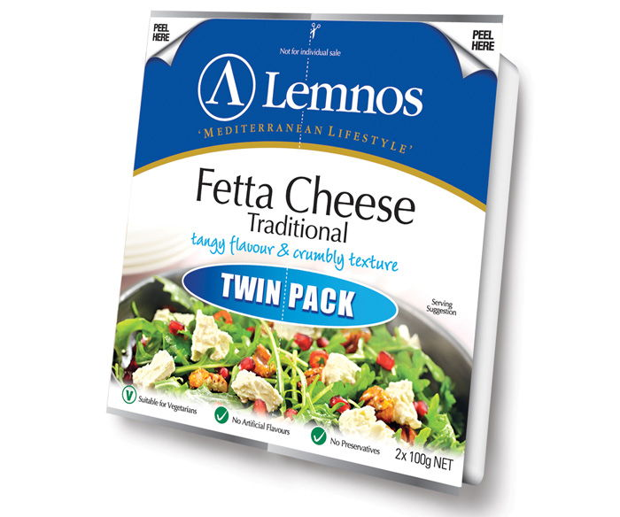 Lemnos Fetta Twin Pack- 200g. Servings per Pack: 8, Serving Size: 25g