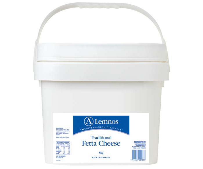 Lemnos Full Cream Fetta 8kg. Servings per Pack: 266, Serving Size: 30g