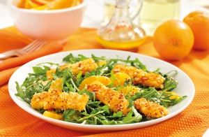 Almond Pan Fried Haloumi, Rocket & Orange Salad recipe made with Lemnos Haloumi