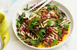 Haloumi, Pomegranate & Spinach Salad recipe made with Lemnos Haloumi