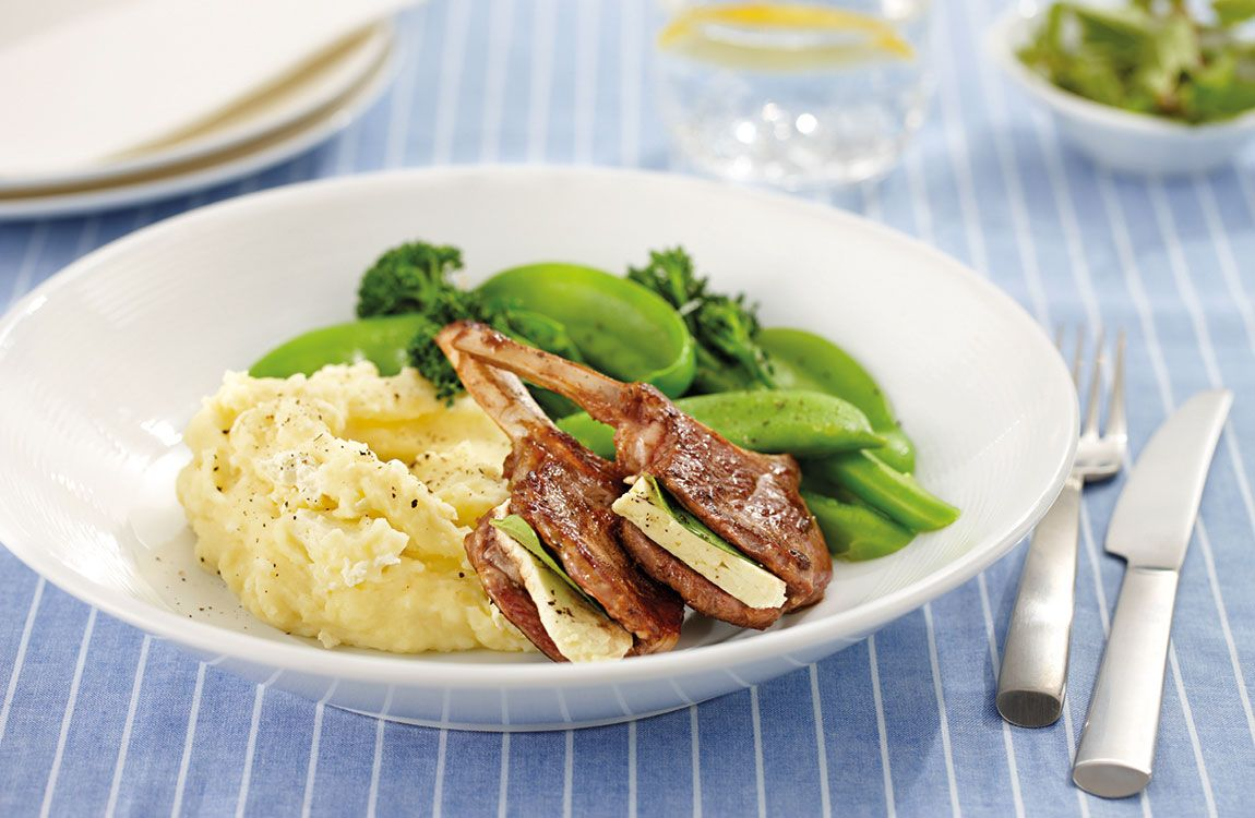 Greek Style Lamb Cutlets with Garlic Fetta Mash recipe made with Lemnos Fetta