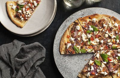 Lamb and Feta flatbread recipe made with Lemnos Smooth Fetta