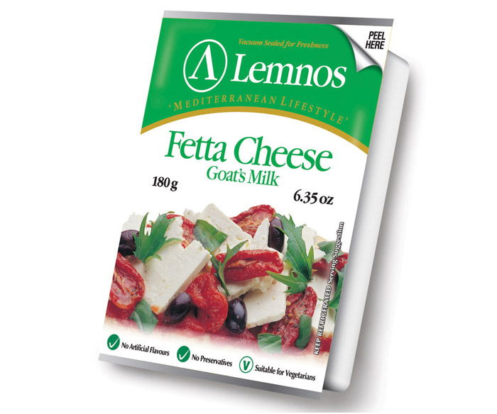 Lemnos Goats Milk Fetta – 180g. Servings per Pack: 6, Serving Size: 30g