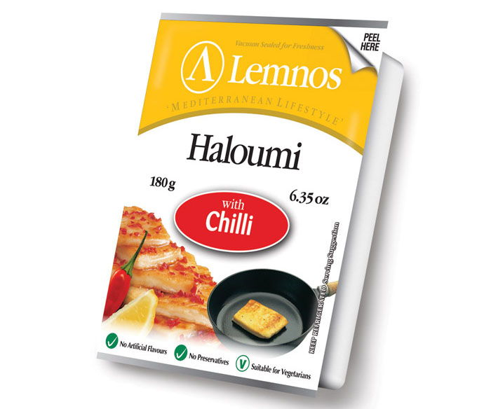 Lemnos Haloumi with Chilli – 180g. Servings per Pack: 6, Serving Size: 30g