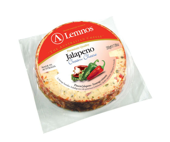 Lemnos Cream Cheese Jalapeno – 125g. Servings per Pack: 5, Serving Size: 25g (Export Quality)