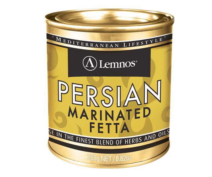 Lemnos Persian Marinated Fetta – 250g. Servings per Pack: 6, Serving Size: 25g