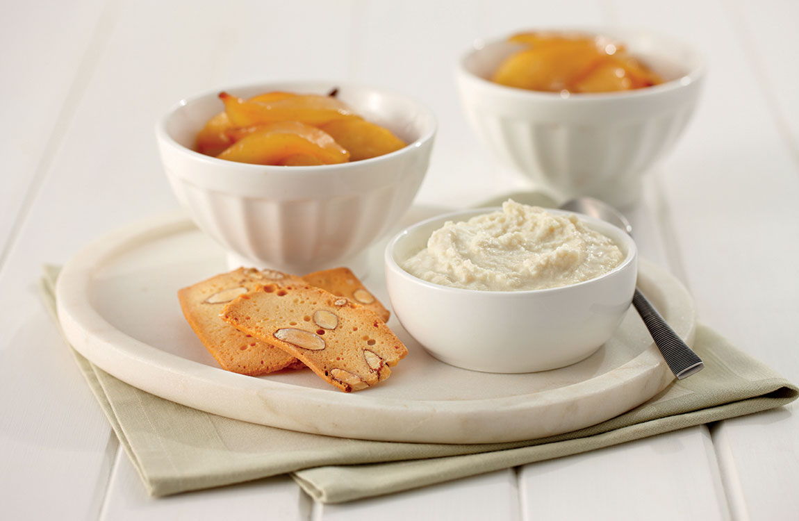 Maple & Vanilla Bean Roasted Pears with Ricotta recipe made with Lemnos Organic Ricotta Cheese