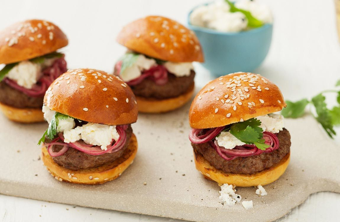 Moroccan Lamb Sliders with Fetta & Pickled Red Onion