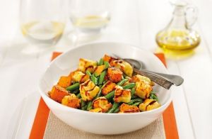 Moroccan Roasted Pumpkin, Haloumi & Green Bean Salad recipe made with Lemnos Haloumi