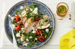 Pepper Chicken & Pearl Couscous Salad with Persian Fetta recipe made with Lemnos Persian Fetta