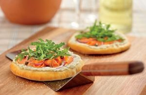 Smoked Salmon and Ricotta Pizzettas with Rocket recipe made with Lemnos Organic Ricotta Cheese