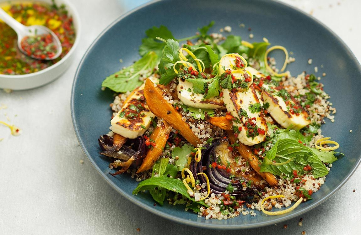 Quinoa & Haloumi Salad with Chilli Coriander Dressing recipe made with Lemnos Haloumi