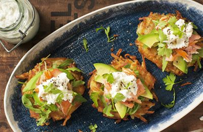 Rosti with Salmon & Fetta Sour Cream Dressing recipe made with Lemnos Smooth Fetta