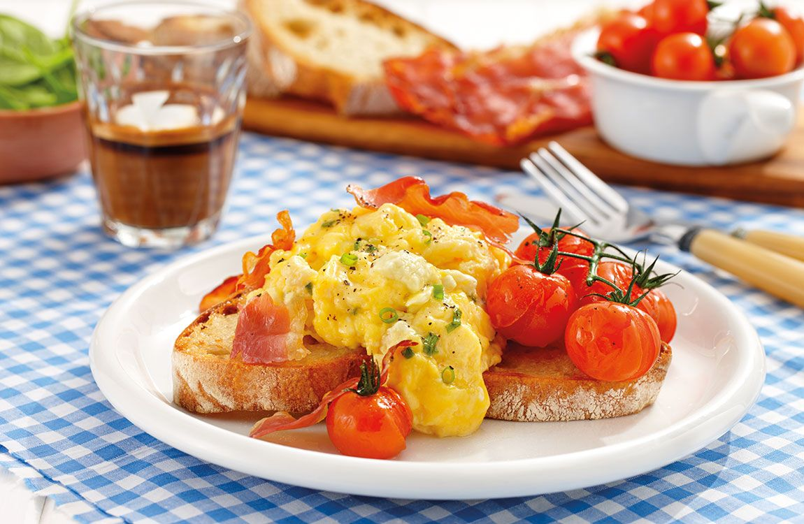 Fetta Scrambled Eggs with Roasted Tomatoes & Prosciutto recipe made with Lemnos Fetta