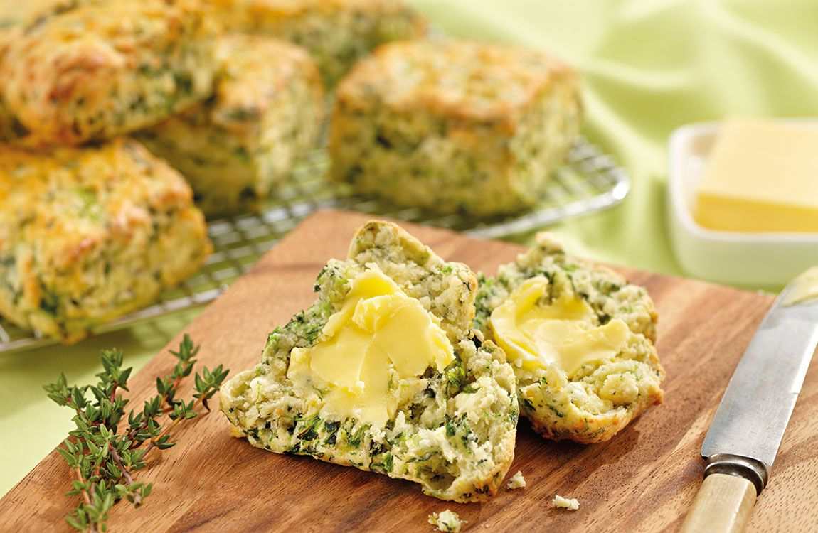 Recipe for Spinach and Thyme Scones (muffins) made with Lemnos Fetta