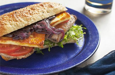 Steak Sandwich with Toasted Haloumi recipe made with Lemnos Cyprus Style Haloumi Cheese