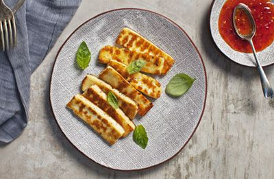 Toasted Haloumi with Easy Dipping Sauce recipe made with Lemnos Cyprus Style Haloumi Cheese
