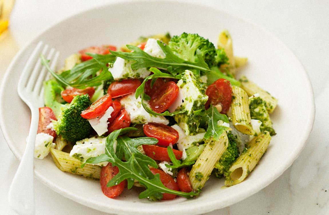 Roasted Tomato & Fetta Penne with Rocket Pesto recipe made with Lemnos Smooth Fetta