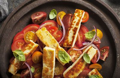Mixed Tomato Salad with Toasted Haloumi recipe made with Lemnos Cyprus Style Haloumi Cheese