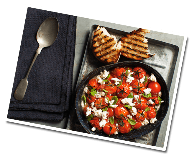 Tomato Stew with Feta on Toast dish prepared with Lemnos Traditional Fetta Cheese