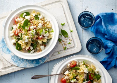 Spinach, Walnut and Fetta Pasta Salad recipe made with Lemnos Persian Marinated Fetta cheese