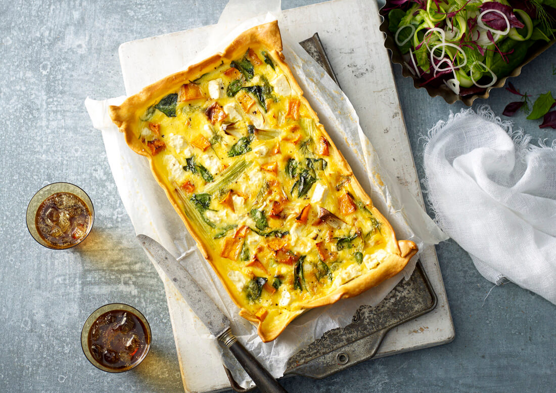 Pumpkin, Leek and Fetta Tart Recipe made with Lemnos Traditional Fetta Cheese