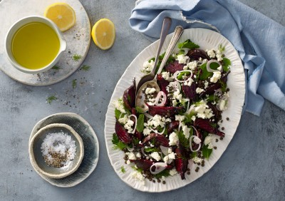 Beetroot, Lentil and Fetta Salad Recipe made with Lemnos Traditional Fetta Cheese