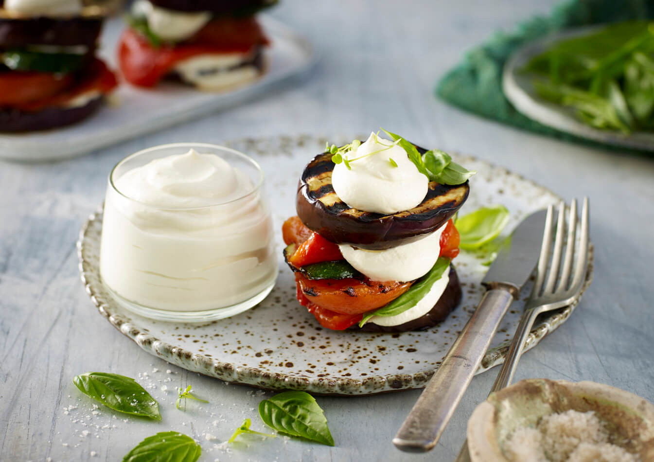 Grilled Mediterranean Stack Recipe made with Lemnos Smooth Fetta Cream Cheese