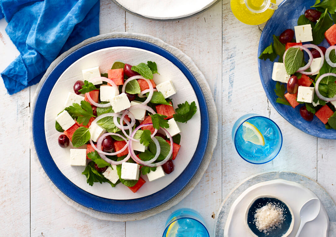 Watermelon, Fetta and Black Olive Salad Recipe made with Lemnos Traditional Fetta Cheese