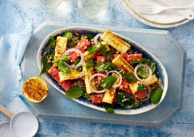 Haloumi, Watermelon and Quinoa Salad recipe made with Lemnos Haloumi Cheese