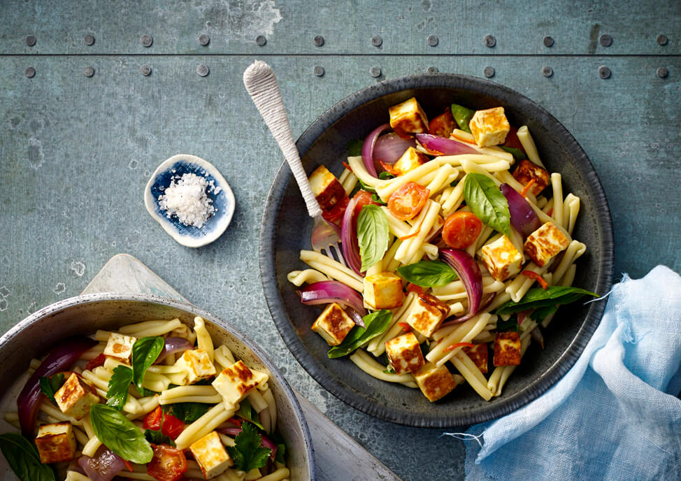 Haloumi, Red Onion and Cherry Tomato Pasta Recipe made with Lemnos Haloumi Cheese