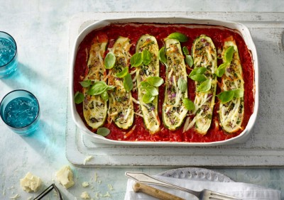 Zucchini Stuffed with Haloumi and Fresh Herbs Recipe made with Lemnos Haloumi Cheese