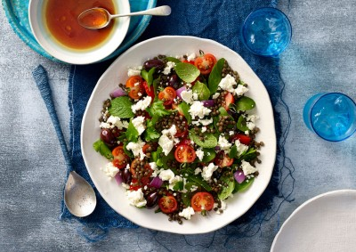 Greek Lentil Salad with Fetta Healthy Recipe made with Lemnos Traditional Fetta Cheese
