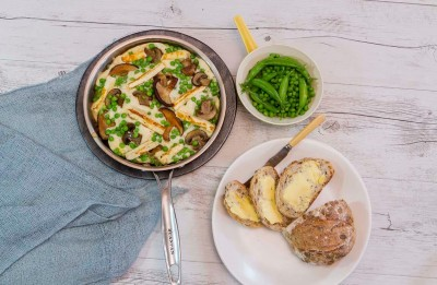Mushroom, Haloumi and Pea Omelette Recipe made with Lemnos Haloumi Cheese