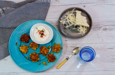 Haloumi, Caramelised Onion and Chickpea Fritters Recipe made with Lemnos Haloumi Cheese