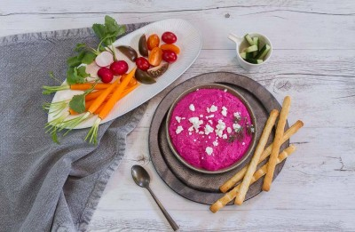 Roast Beetroot and Fetta Dip with Raw Vegetables Recipe made with Lemnos Smooth Fetta Cheese